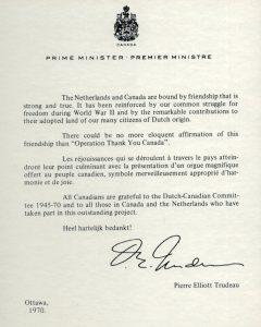 Letter Pierre Trudeau