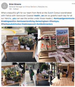 tulip delivery at eldery care home