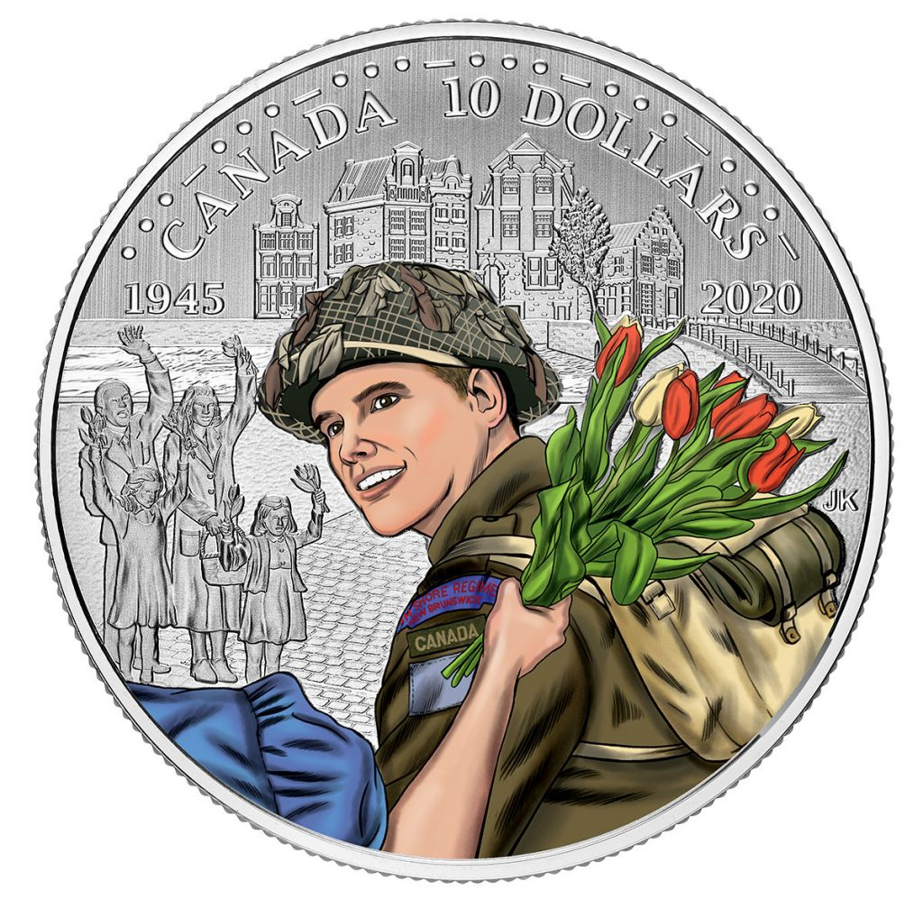 Pure Silver Coloured Coin - 75th Anniversary of the Liberation of the Netherlands