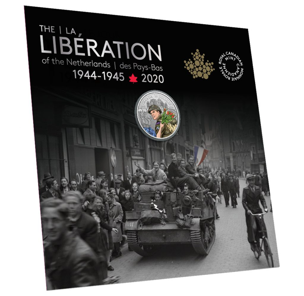 Pure Silver Coloured Coin - 75th Anniversary of the Liberation of the Netherlands display